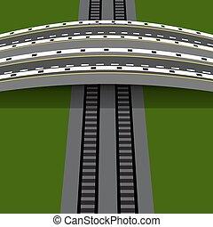 Pase de coche cruzando el ferrocarril. Un puente de arco. Ilustración