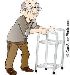 paseante, hombre, viejo, ilustración, utilizar