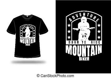 paseo, biker, montaña, color, camiseta, blanco, aventura, nacido