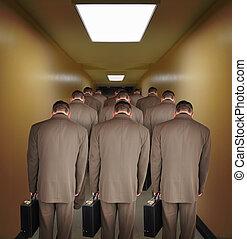 pasillo, ambulante, empresa / negocio, trabajó demasiado, hombres, abajo