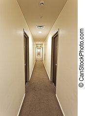 pasillo, hotel, largo, señal, salida, puertas, habitación