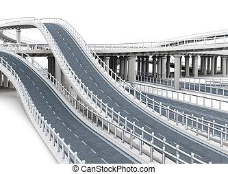 paso superior, fondo., interpretación, carreteras, aislado, blanco, 3d