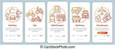pasos, instructions., coche, turismo, rgb, app, vector, plantilla, frugality., concepts., transporte, pantalla, ui, móvil, página, cinco, sharing., gráfico, color, barato, ilustraciones, onboarding, walkthrough