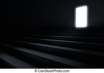 Pasos que conducen a la luz en la oscuridad