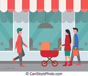 passers-by, restaurante, exterior, calle, ciudad