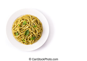 Pasta de espagueti con salsa de pesto