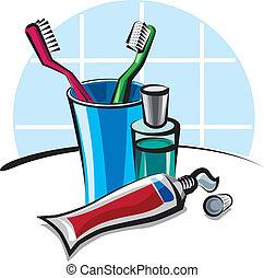 pasta dentífrica, cepillos de dientes