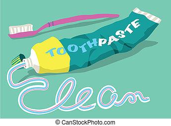 pasta dentífrica, palabra, cepillo, limpio