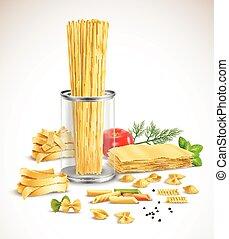 Pasta seca, hierbas variadas, póster realista