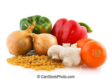pastas, crudo, ingredientes