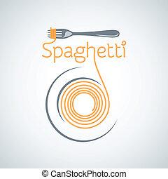 pastas, plano de fondo, tenedor, espaguetis, placa