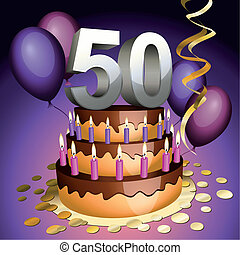 pastel, aniversario, quincuagésimo