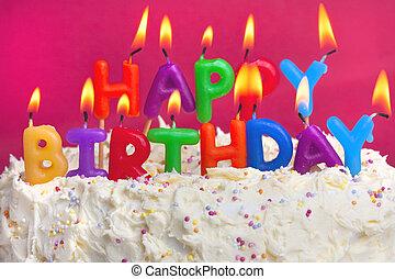 pastel, cumpleaños, feliz
