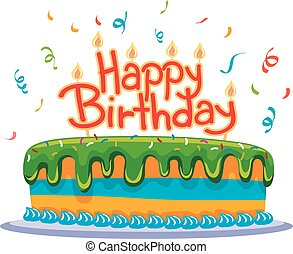 Pastel de cumpleaños con confeti