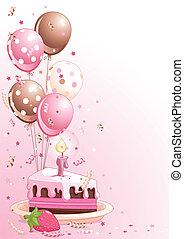 Pastel de cumpleaños con globos