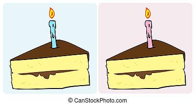 Pastel de cumpleaños con vela.