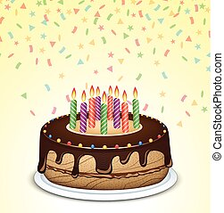 Pastel de cumpleaños con velas