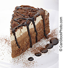pastel, dulce, crema, alimento, chocolate