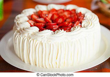 pastel, fresa, delicioso