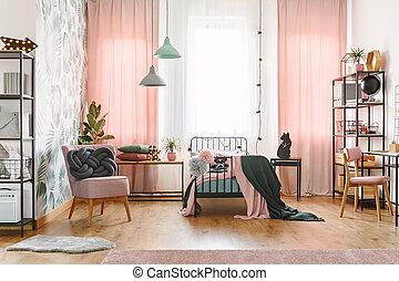 Pastel interior de la habitación de la chica rosa