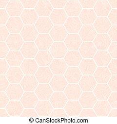 Pastel rosa y blanco diseño hexagonal de panal. Patrón vector sin costura con textura transparente de efecto acuarela. Genial para la salud, cosméticos, productos de salud, empaque, bebé, papelería