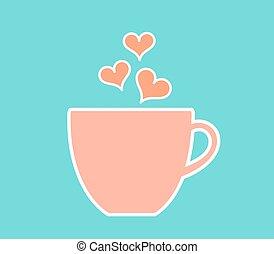Pastel taza de café con corazones.