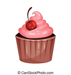 Pastelito con crema rosa. Ilustración de vectores en un fondo blanco.