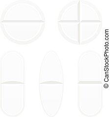 Pastillas aisladas en blanco