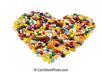 Pastillas coloridas en forma de corazón