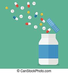 Pastillas con frascos de medicina