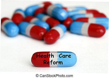 Pastillas de reforma de salud aisladas en blanco