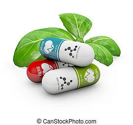 Pastillas de vitamina natural, medicina alternativa. Ilustración 3D