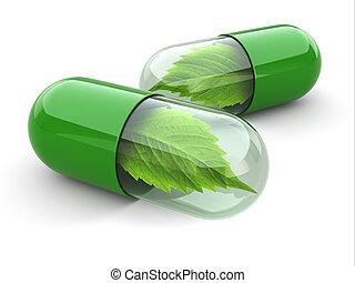 Pastillas de vitaminas naturales. Medicina alternativa.