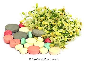 Pastillas hechas con flores y hojas medicinales