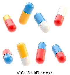 Pastillas medicinales aisladas en blanco