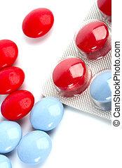 Pastillas rojas y azules