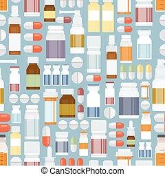 Pastillas y drogas en un patrón sin costura