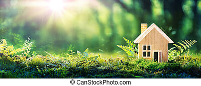 pasto o césped, ambiente, casa de madera, hogar, -, amistoso, verde, eco