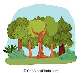 pasto o césped, arbustos, bosque, follaje, caricatura, verdor, árboles, diseño, hojas