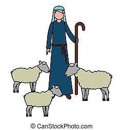 Pastor con el personaje de ovejas