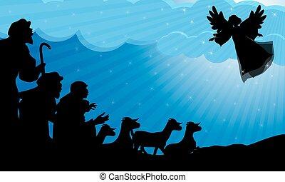 Pastores y silueta de ángel