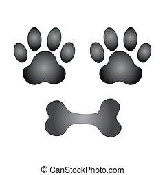 Pata de perro y vector de hueso
