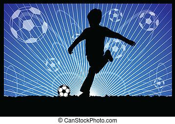 patadas, pelota del fútbol, niño