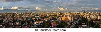 patan, panorámico, kathmandu, vista