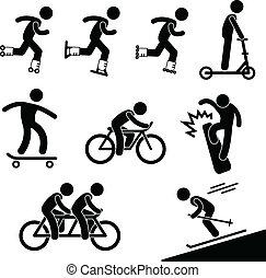 patinaje, equitación, actividad