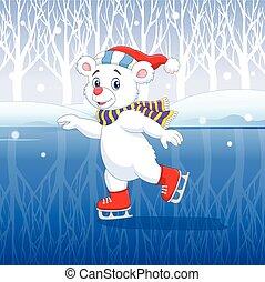 patinaje, lindo, oso polar, hielo, caricatura