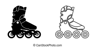patines, black-white, style., rodillo, lineal, iconos, vector