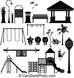 patio de recreo, parque, niños, jardín