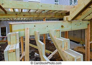 patio, edificio, de madera, pórtico, embaldosado, casa, nuevo, exterior