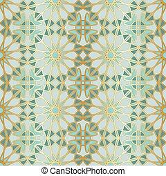 Patrón árabe sin costura. Ventana islámica tradicional con mosaico dorado